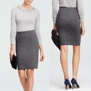 Ann Taylor Gray Ponte Knit Pencil Skirt Size - 6P